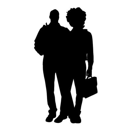 fellows: Vector men silhouette on a white background.