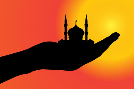 held: Vector silhouette of a mosque held by hand.