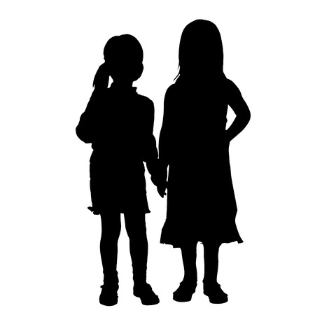 siblings: Vector siblings silhouette on a white background.