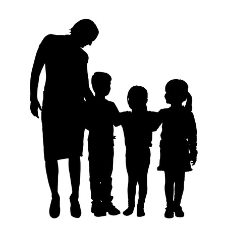 child care: Vector family silhouette on a white background.
