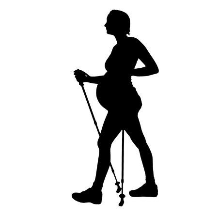 maternity leave: Vector silhouette of a pregnant woman on a white background.