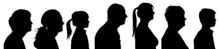 白い背景の上の人々 のベクトル シルエット プロファイル。  イラスト・ベクター素材