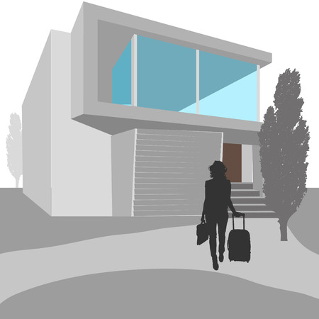 silhouette of women: Vector illustration of real estate with silhouettes of people