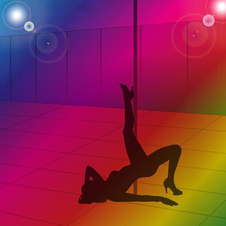 pole dance: vector silhouette pole dance girl in club