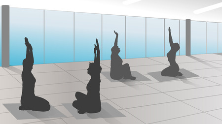 poolside: vector silhouette of woman in training room