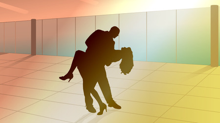 latin american girls: vector silhouette of couple in dance lessons