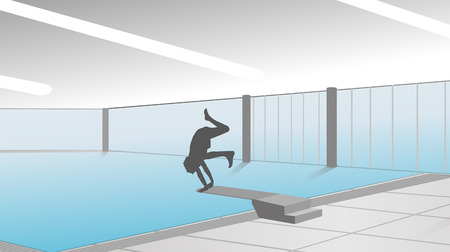 young boy in pool: vector silhouette of man in the pool Illustration