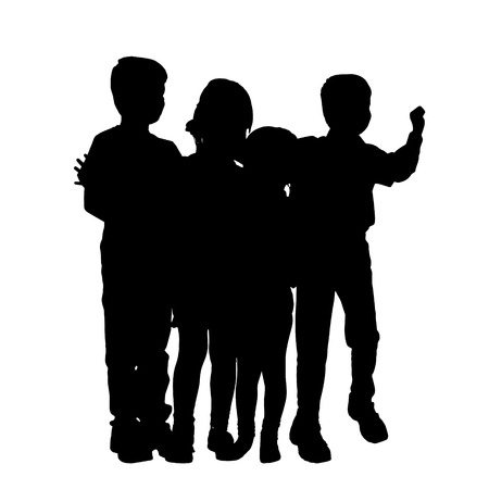 school boys: Vector silhouette of children on a white background.