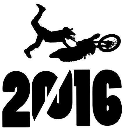 silueta negro ilustración vectorial 2016 Año Nuevo Ilustración de vector
