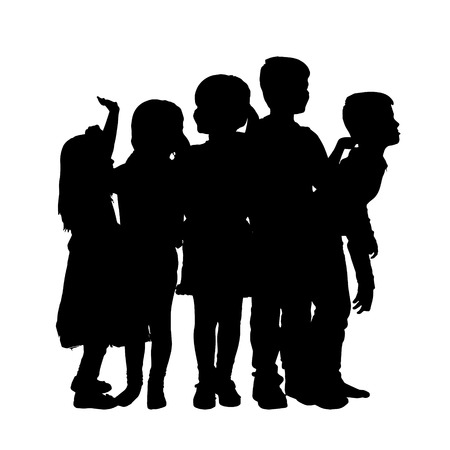 silueta niño: Vector silueta de los niños sobre un fondo blanco.
