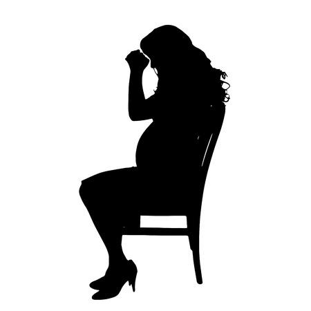 unhappy family: Vector silhouette of a pregnant woman on a white background.
