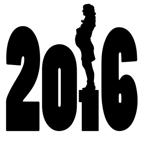 woman black background: black silhouette vector illustration 2016 New Year