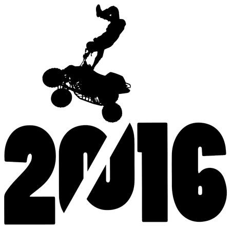 silueta negro ilustración vectorial 2016 Año Nuevo