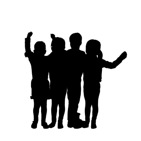 Vector silhouette of children on a white background.