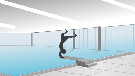 nen: vector silhouette of man in the pool Illustration