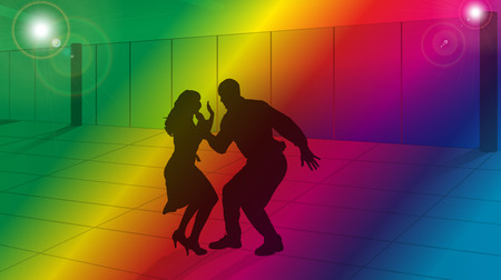 lessons: vector silhouette of couple in dance lessons
