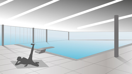 swiming: vector silhouette of woman in the pool Illustration