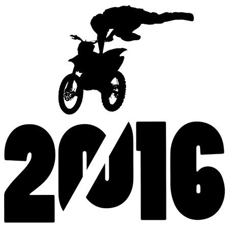 Ilustración de vector de silueta negra 2016 Año Nuevo