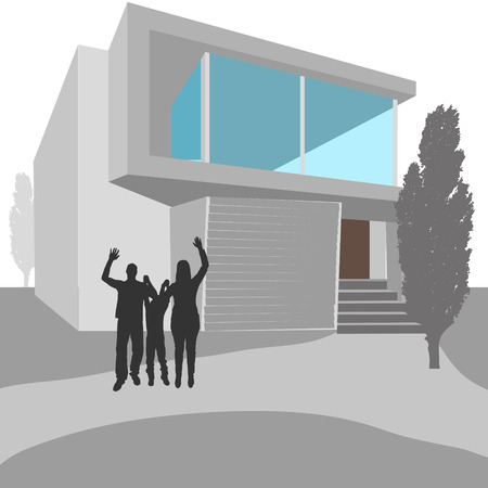 real people: Vector illustration of real estate with silhouettes of people