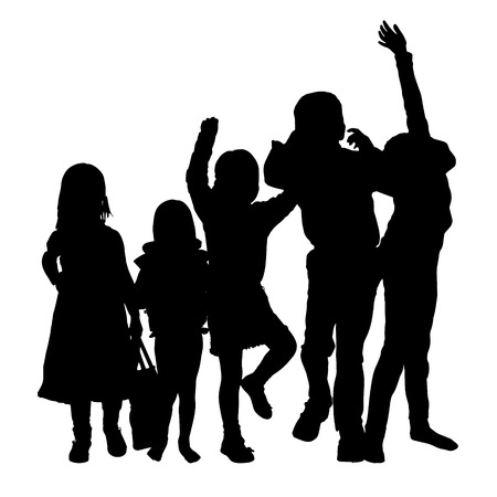 young group: Vector silhouette of children on a white background.