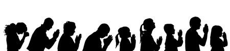 familia en la iglesia: Perfil Vector silueta de personas sobre un fondo blanco.