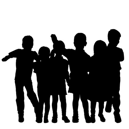 schoolmate: Vector silhouette of children on a white background.
