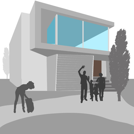 residential neighborhood: Vector illustration of real estate with silhouettes of people