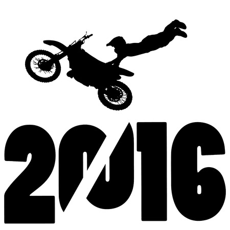 fmx: black silhouette vector illustration 2016 New Year