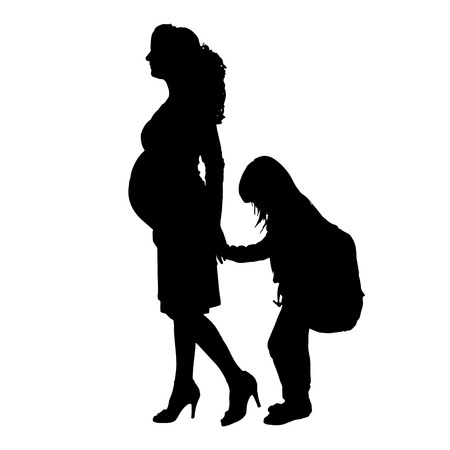 maternity leave: Vector family silhouette on a white background.