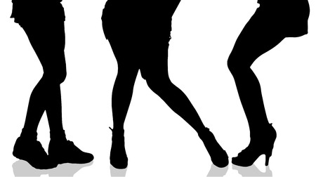 woman walk: Vector silhouette of female feet on a white background.