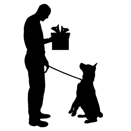 dog gift: Vector silhouette of a dog with a gift.