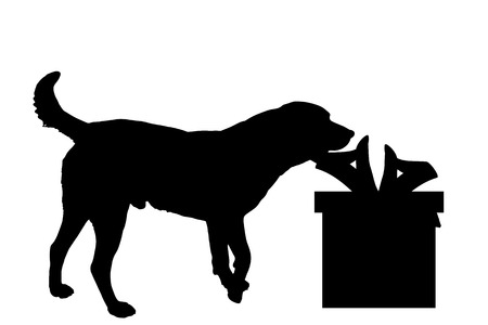 Vector silhouette of a dog with a gift.