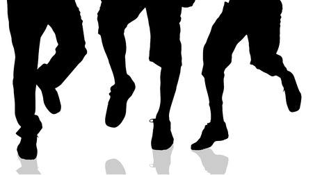 pies masculinos: Vector silhouette of male feet on a white background. Vectores