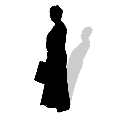businesswoman skirt: Vector silhouette of a woman on a white background.