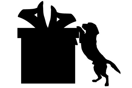 sniff: Vector silhouette of a dog with a gift.
