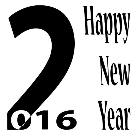 balck: black and white vector illustration 2016 New Year
