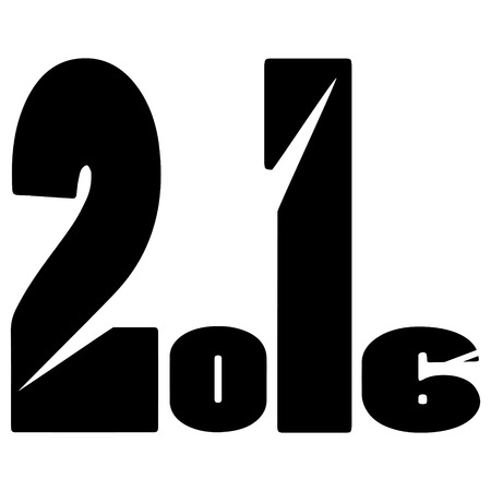 balck and white: black and white vector illustration 2016 New Year