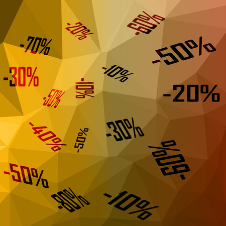 percentages: low poly vector illustration sale various percentages