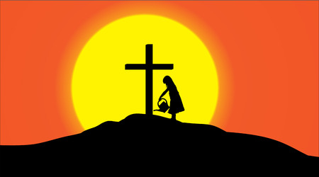 spiritual growth: Vector silhouette of a cross on a hill at sunset.