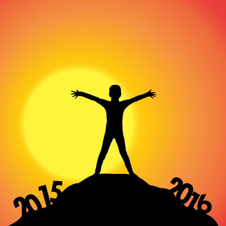 dimming: Vector silhouette of a boy who goes for the new year. Illustration