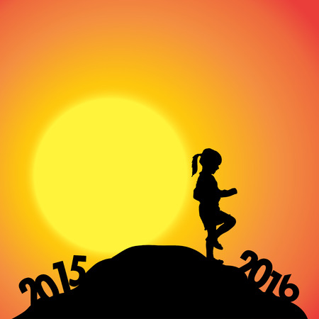 dimming: Vector silhouette of a girl who goes for the new year.