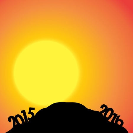 dimming: Vector silhouette of nature with the new year.