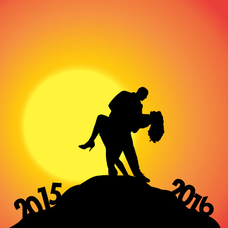 dimming: Vector silhouette of a couple who goes for the new year.