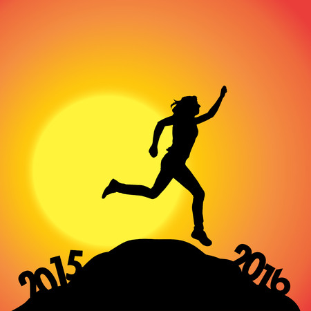 dimming: Vector silhouette of a woman who goes for the new year. Illustration