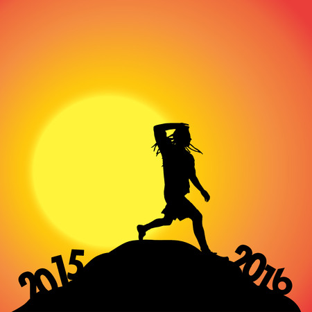 dimming: Vector silhouette of a man who goes for the new year.