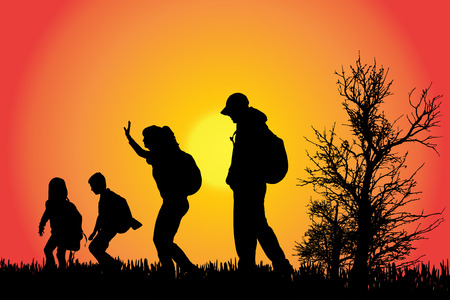 nature woman: Vector silhouette of a family in the countryside at sunset.