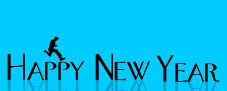 leap: Vector illustration inscription happy new year on a blue background.
