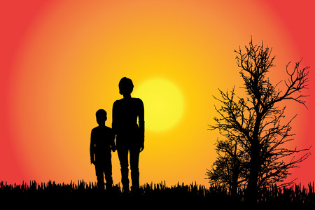 Vector Silhouette einer Familie in der Landschaft bei Sonnenuntergang.