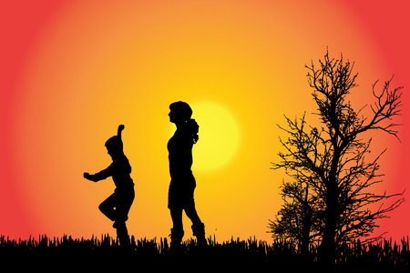 running woman: Vector silhouette of a family in the countryside at sunset.