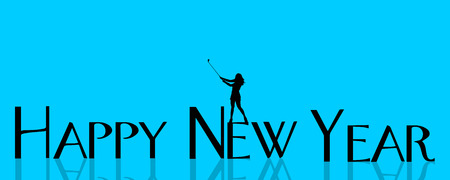 december background: Vector illustration inscription happy new year on a blue background.